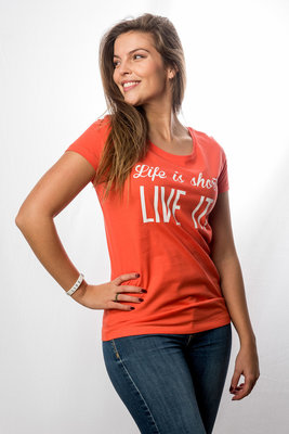 T-Shirt Women 'Life is short - Live it!'; Orange